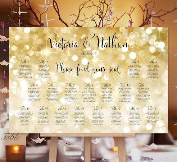 Wedding Seating Chart Poster Gold Bokeh Sparkle