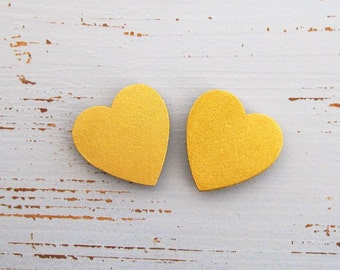 Wood Heart Magnets Set of 2 Gold Decorative Magnets Bridesmaid Gift Hand Painted Wooden Heart Magnets Wedding Gift Gold Favors