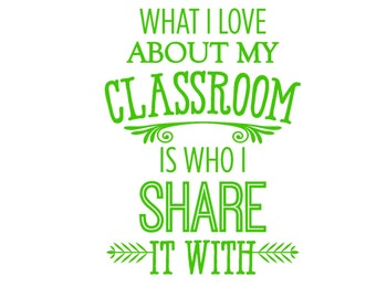 What I love About My Classroom Wall Decal, Vinyl, Teacher Wall Art. Classroom Wall Decal, School