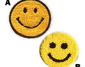 Cute Vintage Style Chenille Smiley Face Smile Patch Badge 7cm