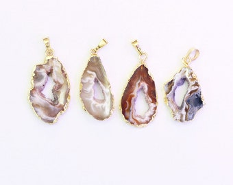 Druzy Pendants -- With Electroplated Gold Edge Druzzy Drusy Geode Charms Wholesale Supplies Handmade CQA-068