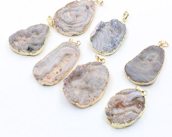 Rough Druzy Pendants -- With Electroplated Gold Edge Druzzy Drusy Geode Charms Wholesale Supplies Handmade YHA-026