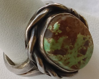 Vintage  ring sterling silver and Green turquoise
