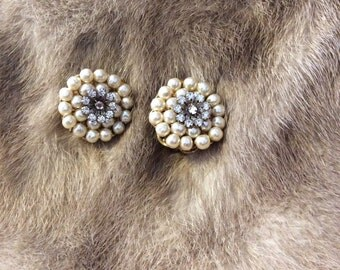 Vintage Signed Miriam Haskell Baroque Pearl & Rhinestone Clip-on Earrings