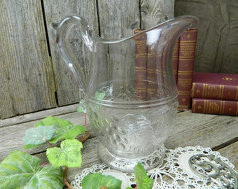 Vintage Pressed Clear Glass Large Water Pitcher