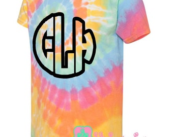 Youth Monogrammed Multi-Color Spiral Tie Dye T-Shirt