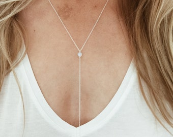 """Opalite Moonstone """"Y"""" Lariat Necklace - 14/20 Gold Fill or Sterling Silver"""