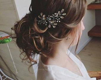 Rhinstone bridal headpiece Wedding hair piece Pearls Crystals Bridal headband Crystal hairvine Bridal vine Sparkling head piece head band