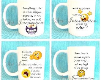 Funny Mugs - Everything i like - Whine like a man - Keys in the fridge etc...