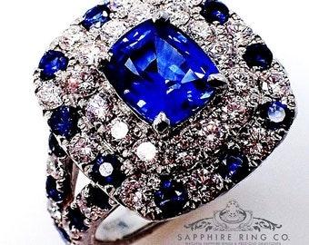 Platinum Sapphire Diamond Ring, 1.69 ct Cushion Cut Ceylon Sapphire - 3079