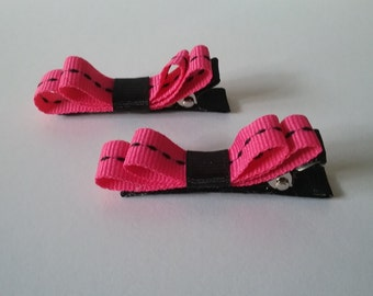 Hot Pin k and Black Covered Alligator Clips - Set of two