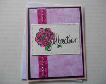 Just Breathe Card in Pink