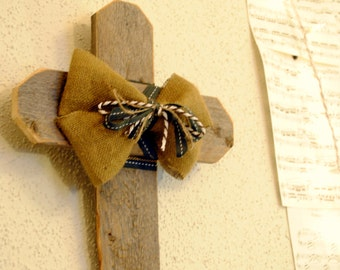 Rustic Cross with Burlap and Ribbon