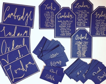 Modern Calligraphy Hand Written Mini Table Seating Plans, Place Names, Table Numbers