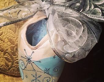 Snowflake Handpainted Pointe Shoe