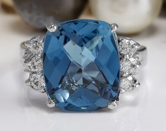 7.60 CTW Natural London Blue Topaz and Diamonds in 14K White Gold Ring