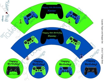 Personalized Gamer Cupcake Wrapper (Digital File Only)