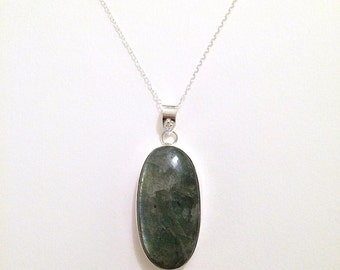 Large Labradorite and Sterling Silver Necklace