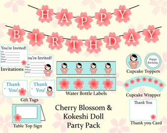 Cherry Blossom and Kokeshi Doll Party Pack
