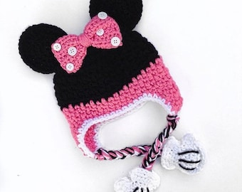 Crochet Minnie Mouse beanie