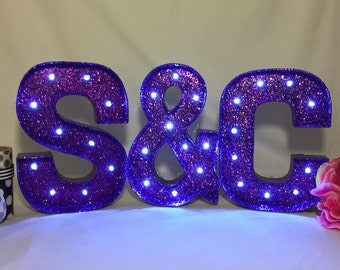 Glitter Marquee Letters-8 inch Marquee Letters-Wedding Letters-Light up Letters-Glitter Letters-Choose any color-Marquee-Sale
