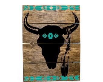 Tribal Print Steer Skull Pallet Sign - Indie home decor, gifts for her, reclaimed pallet, Aztec Bedroom Decor, Western Wood Sign