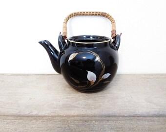 Vintage Teapot / Boho Teapot / Black Floral Teapot / Porcelain Teapot / English Teapot / Bohemian Teapot