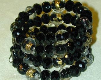 Glass Memory Wire Bracelet Black & Gold