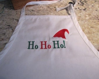 Ho Ho Ho Embroidered Full Length Apron with 3 Pockets adjustable at the neck
