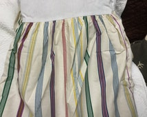 Authentic original Ralph Lauren Montague multi stripe queen dust ruffle/bedskirt purple green ivory yellow stripe pattern