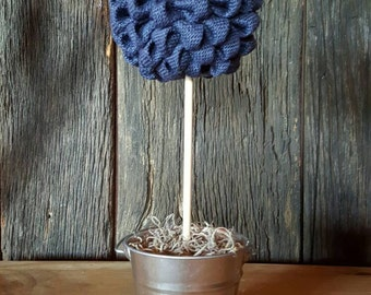 Navy Blue Burlap Topiary Tree, Navy Blue Centerpiece, Nautical Wedding Centerpiece, Burlap Centerpiece,Burlap Home Décor, Burlap Wedding