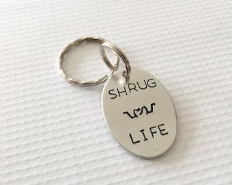 Shrug emoji - Shrug keychain - Shrug life - Hand stamped keychain- Fun key chain - Emoji keychain - Hand stamped jewelry