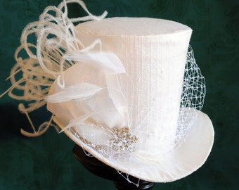 Bridal Mini Top Hat,Tea-party Mini Top Hat,White Victorian Mini Top Hat - Ready to Ship