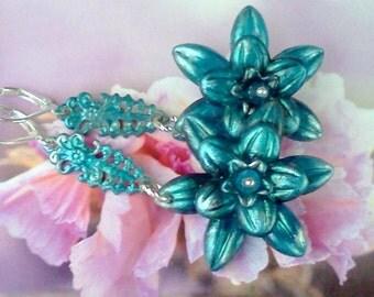 Hand Painted Earrings, Handmade Earrings, Lucite Earrings, Flower Earrings, Boho Earrings, Teal Earrings, Aqua Blue Earrings, Aqua Teal Blue