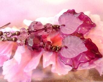 Lucite Earrings, Leaf Earrings, Victorian Earrings, Hand Painted Jewelry, Pink Earrings, Boho Earrings, Magenta Earrings, Multi Leaf Earring