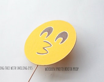 Kissing face with smiling eyes emoji, Emoji Party Supplies, Emoji Party Decorations, Emoji Photo Booth Props, Photo Booth Sign, Emoji