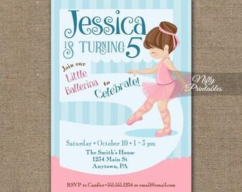 5th Birthday Invitation - Ballet Tutu Birthday Invitations - Printable Girls 5th Birthday Party - Five Year Old Ballerina Birthday - BAL1