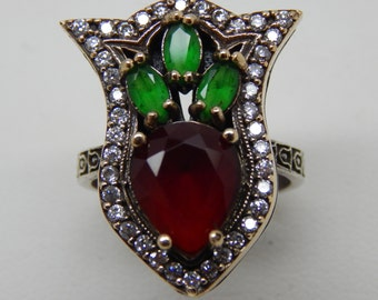 Turkish Tulip Ring Traditional Ottoman 925 Sterling Silver Ring Ruby and Emerald Lob Created Statement Vintage Style Ring