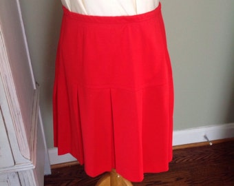 Vintage Russ skirt, Red, Pleats elastic waist