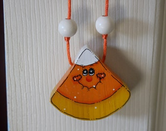 Hand painted Candy Corn Necklace