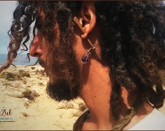 "Dilator Earring, hand carved wood ""palo santo"" from the jungle, amethyst from Brasil, elegant and different, tribal gipsy primal craft"