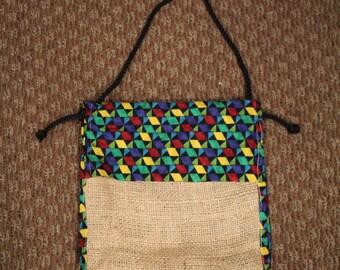 Handmade Fabric and Burlap Shoulder Bag