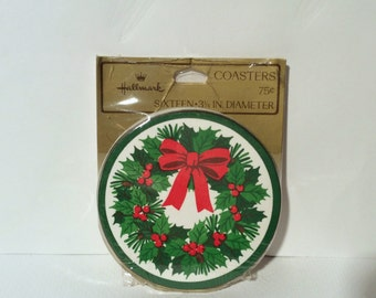 Vintage 1970s Hallmark Christmas Coasters New in Package, MCM and Grand