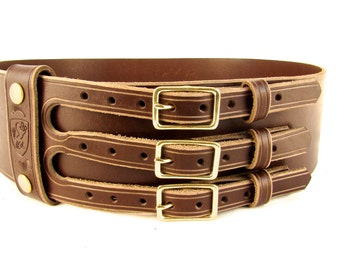 Kilt Belt Black Triple Buckle Belt Brown Triple Buckle Belt