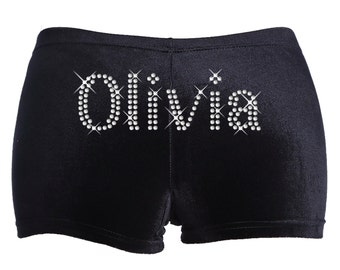 Varsany Personalised Gymnastics Dance Shorts Leotard Black Stretch Velvet Name