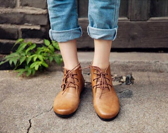 Handmade Brown Tie Leather Shoes,Woman Fall Shoes, Oxford Women Shoes, Flat Autumn/ Spring Shoes, Retro Leather Booties, Ankle Boots