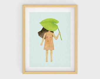 Quirky Illustration Print / Naked Dress Illustration Print / House Plant Illustration Print / Whimsical Girl Illustration Art Print