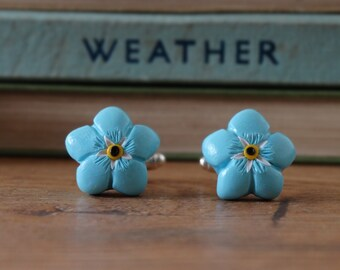 By the Shed Forget me Not Cufflinks - Flowers, Gardening, Gift - Blue Flower, Rememberence, Love, Anniversary, Rhodium Plated, Shirt Cuff