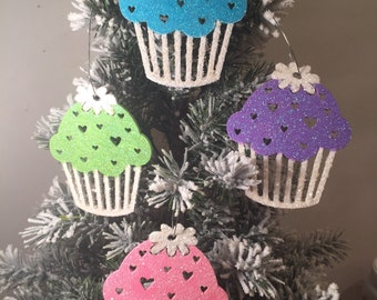 Cup cake ornaments.