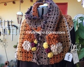 Scarf in Four Colors and Rosetttes